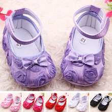 Wholesale 2015 Hot Cute Baby Shoes Girls Soft Sole Solid Bow Rose Flower Princess Skid-Proof Toddler Kids Shoes First Walkers(China (Mainland))