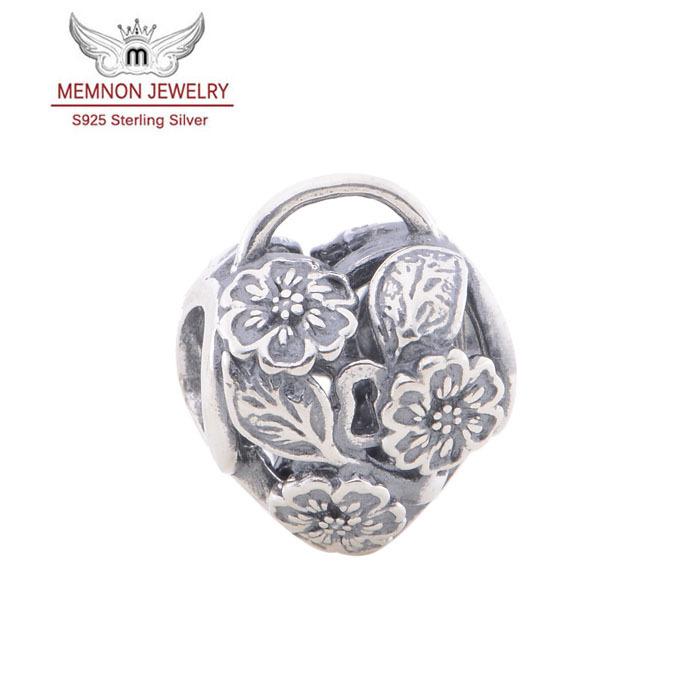 925 sterling silver jewelry flower charm Fit European brand bracelet Diy fine jewelry floating charms beads wholesale LW402
