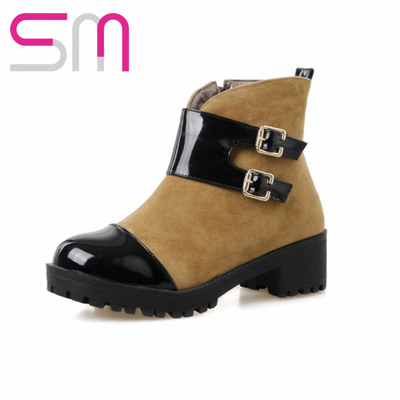 Fashion 2015 Ankle Boots Vintage Sexy Buckle Strap Women Round Toe Fashion Women Winter Martin Boots Skid-proof Sole Rubber Boot