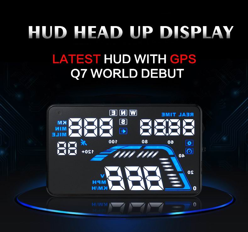 "New Q7 5.5"" Universal Auto Car HUD GPS Head Up Display Overspeed Warning Dashboard Windshield Project Speedometers(China (Mainland))"
