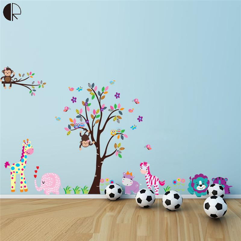 Extra Large Children VInyls Littte Tree Monkey Cartoon Wall Stickers For Kids Room DIY Decal Art Wallpaper On The Wall HH1229(China (Mainland))