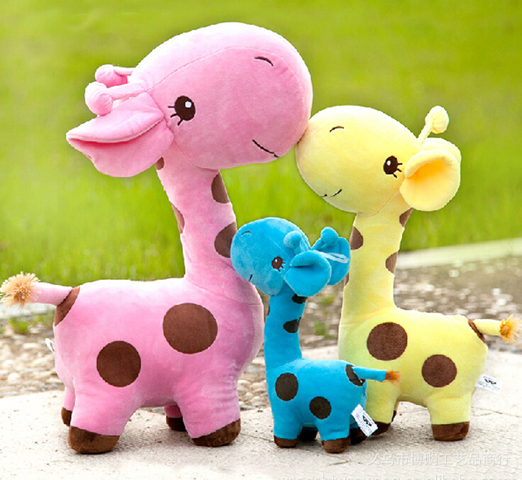 1Pcs 18cm Toddlers Baby Soft Plush Toy Cute Plush Giraffe Dot Colorful Doll Gift Rose Free Shipping(China (Mainland))