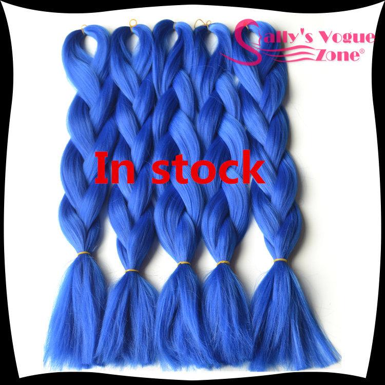 Kanekalon Braiding Hair Synthetic Jumbo Braiding Hair Two Pure Blue Hair Extension 24inch 100g/pc Jumbo Braids For Hair Bulk(China (Mainland))
