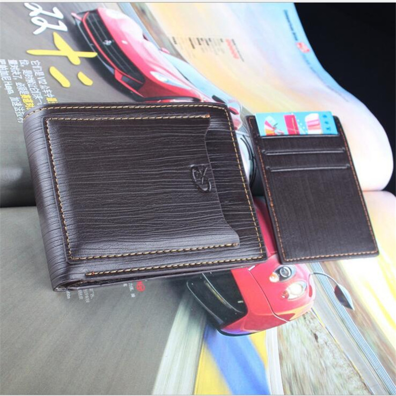 New Black Coffee Mens Multifunction Foldable PU Leather Wallet With Draw Card Holder Slim Purse Gift No zipper<br><br>Aliexpress