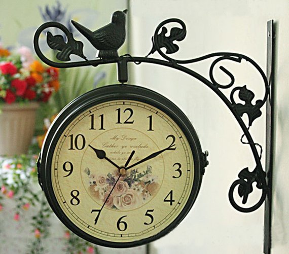 EMS free shipping wholesale and retail/ Europe garden city style iron wall clock with double face/ craft wall clock