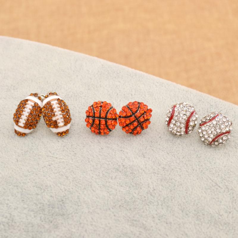 1 Pair Rhinestone Sports Ball Stud Earrings Basketball Baseball Rugby Ear Stud Jewelry(China (Mainland))