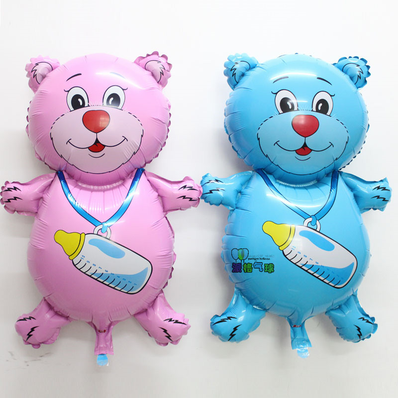 53*81cm manufacturers selling the new 2pcs bottle bear balloon cartoon aluminum film stereo toy hydrogen wholesale(China (Mainland))