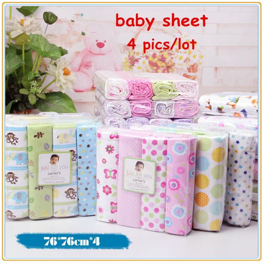 4pcs/lot newborn baby bed sheet bedding set 76x76cm for newborn crib sheets cheap cot linen 100% cotton blanket(China (Mainland))