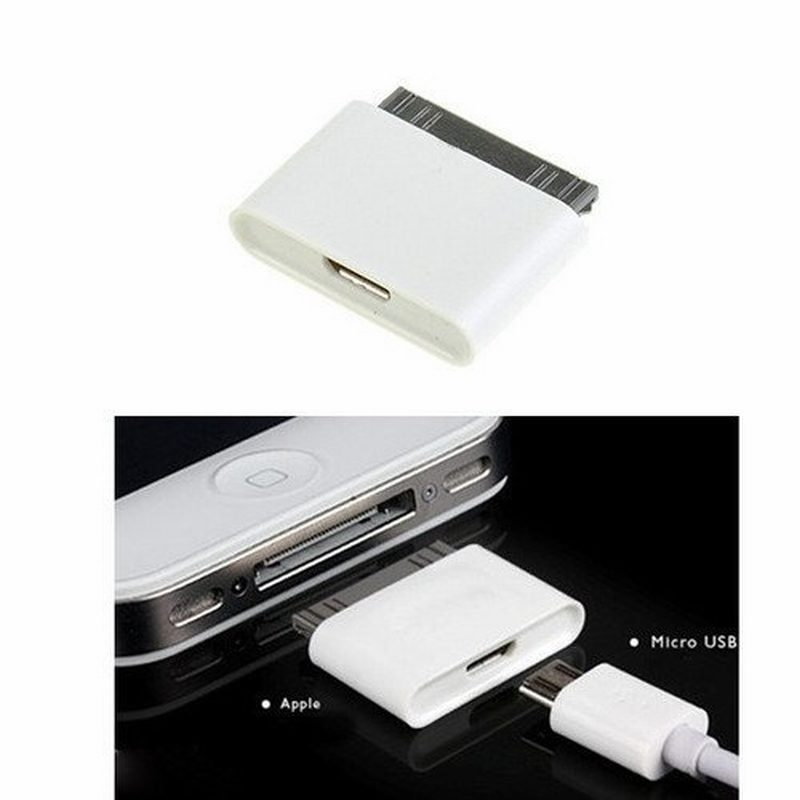 MicroUSB Micro USB to 30 pin dock Female Male Charger cable Connector Adapter for iPhone 3GS 3G 4 4S iPad 1 2 iPod dropshipping(China (Mainland))