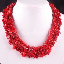 "Free Shipping Jewelry 4X8MM Natural  Red Sea Coral Chip Beads Nylon Line Weave Necklace 18"" 1Pcs FE033(China (Mainland))"