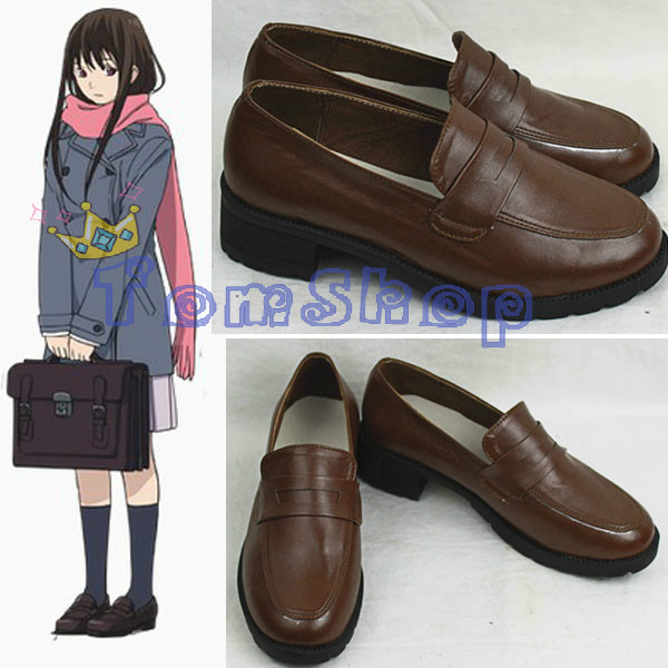 Wholesale Noragami Hiyori Iki Cosplay Shoes Custom Size High School Girl Retro Leather shoes Free Shipping(China (Mainland))