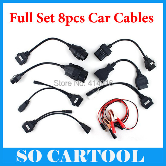 Full Set 8 CDP TCS Pro Car Cables OBD/OBDII Diagnostic Connector Multi-Brand Cars Auto Cable Interface - So Cartool Co., Ltd store