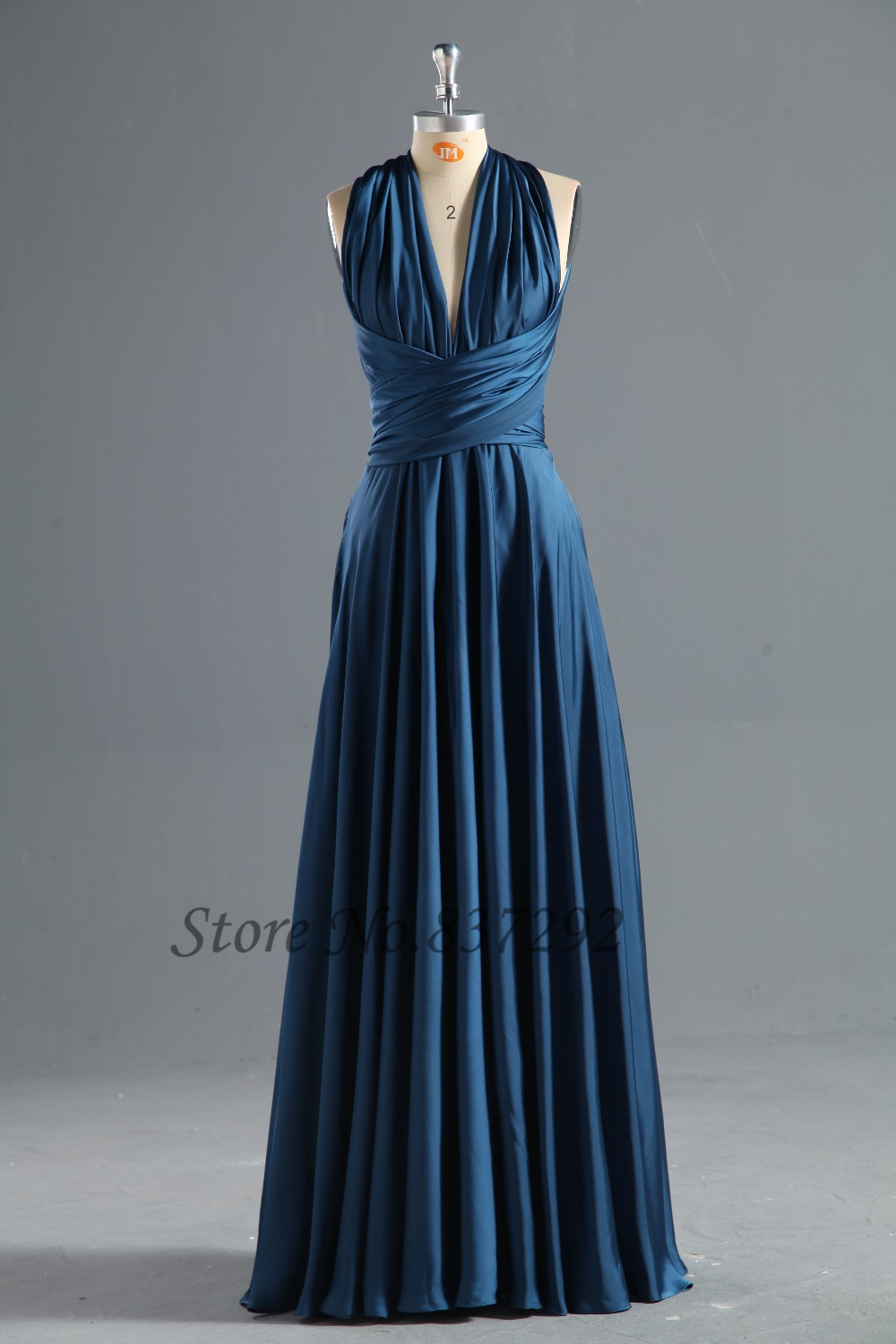 Navy blue long bridesmaid dresses v neck many styles 2016 for Navy blue dresses for wedding