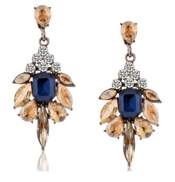 2016 длинные синий кристалл бусины цветок серьги свадьбы невеста подарок ну вечеринку платье ювелирные изделия серьга оптовая продажа