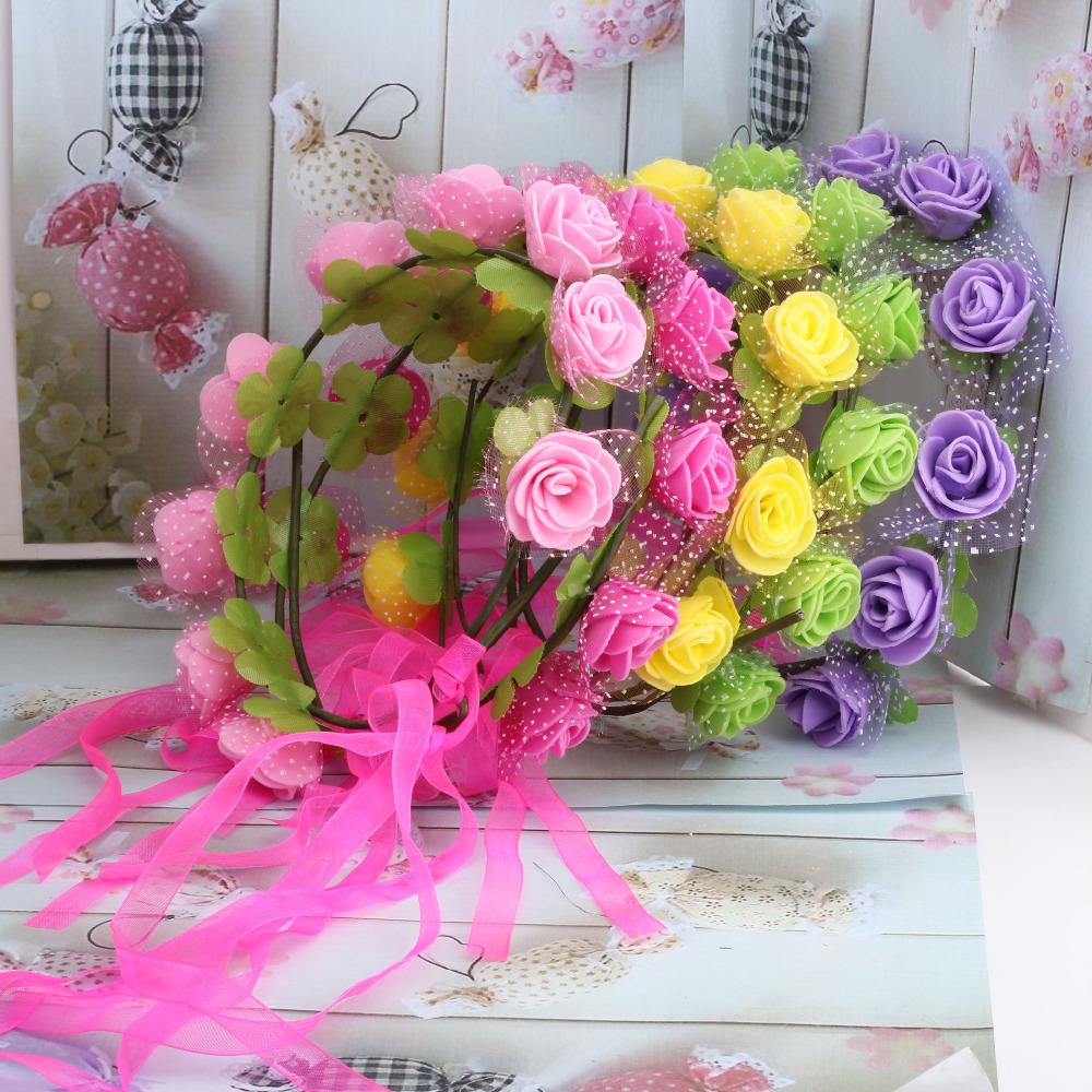 New Summer Style Bride Flower Hair Band Adjustable Size Girl Hair Accessories Beautiful Ribbon Wedding Flower Headband(China (Mainland))