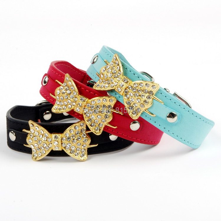 Free shipping 2014 fashion luxury rhinestone PU leather dog collars wholesale pet collar with golden butterfly charms bling cute(China (Mainland))