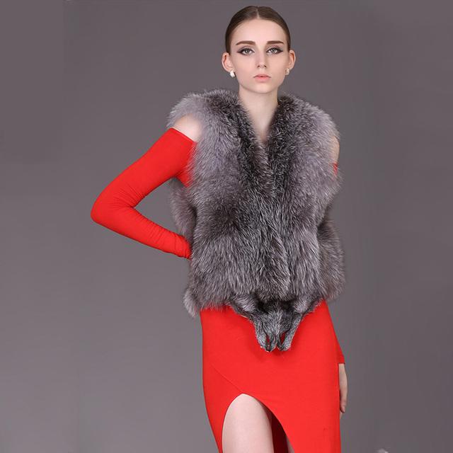Silver Fox Меховой Жилет для женщин Натурального Меха Фокс пальто женщин Благородный ...