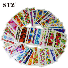 50pcs Hot  New Flower Manicure Tools Nail Art Water Stickers DIY Full Tips Decals Decorations Stamping XF1372-1421 STZ086-133(China (Mainland))
