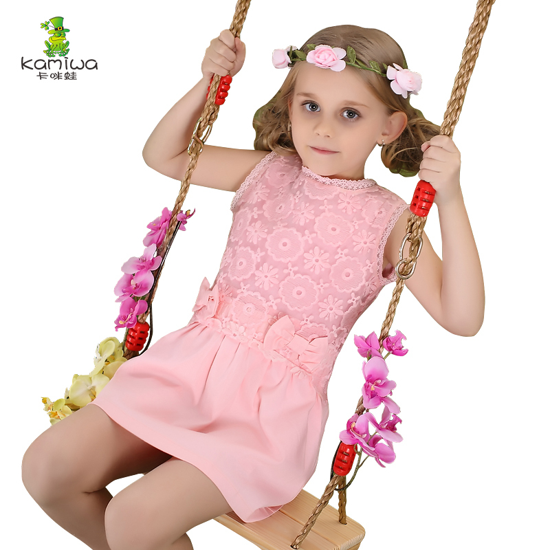 KAMIWA 2015 Chiffon Lace Embroidery Teenage Girls Dresses Summe Style Princess Party Sleeveless Childrens Clothing Kids Clothes<br><br>Aliexpress