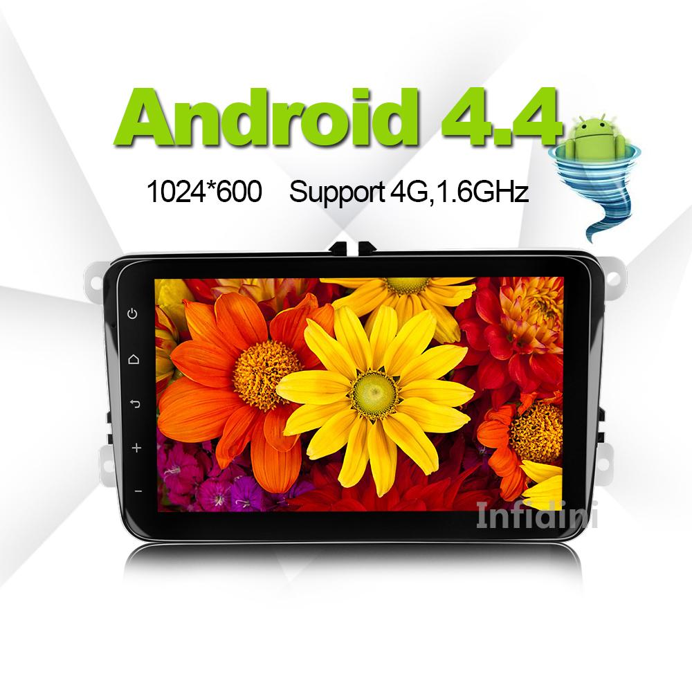 1024*600 in dash gps navigation android 4.4 car dvd raido video gps player 2 din vw polo golf tiguan jetta passat CC B5 skoda(China (Mainland))