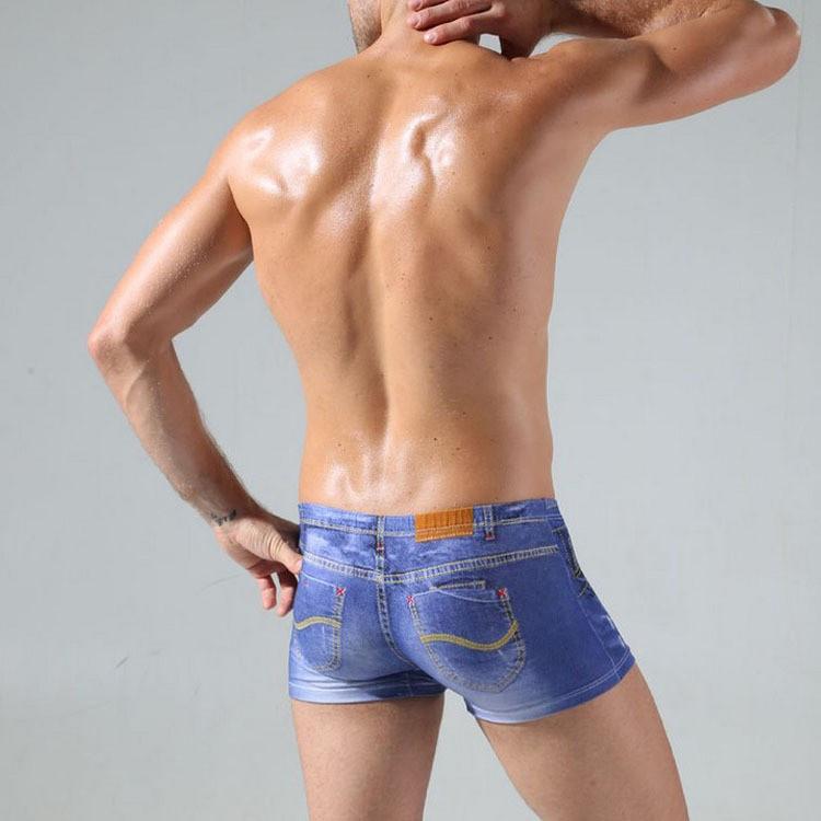 2016 Cotton Popular Casual Men Underwear Underpants Jean Print Men Boxers Size L-3XL