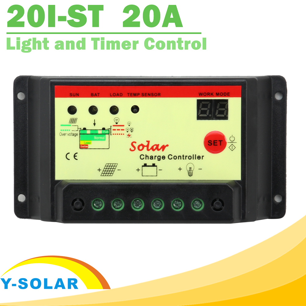 20A Solar Panel Battery Charge Controller 12V 24V Light and Timer Control PWM Solar Collector With Max 500W Solar Panel Y-SOLAR(China (Mainland))
