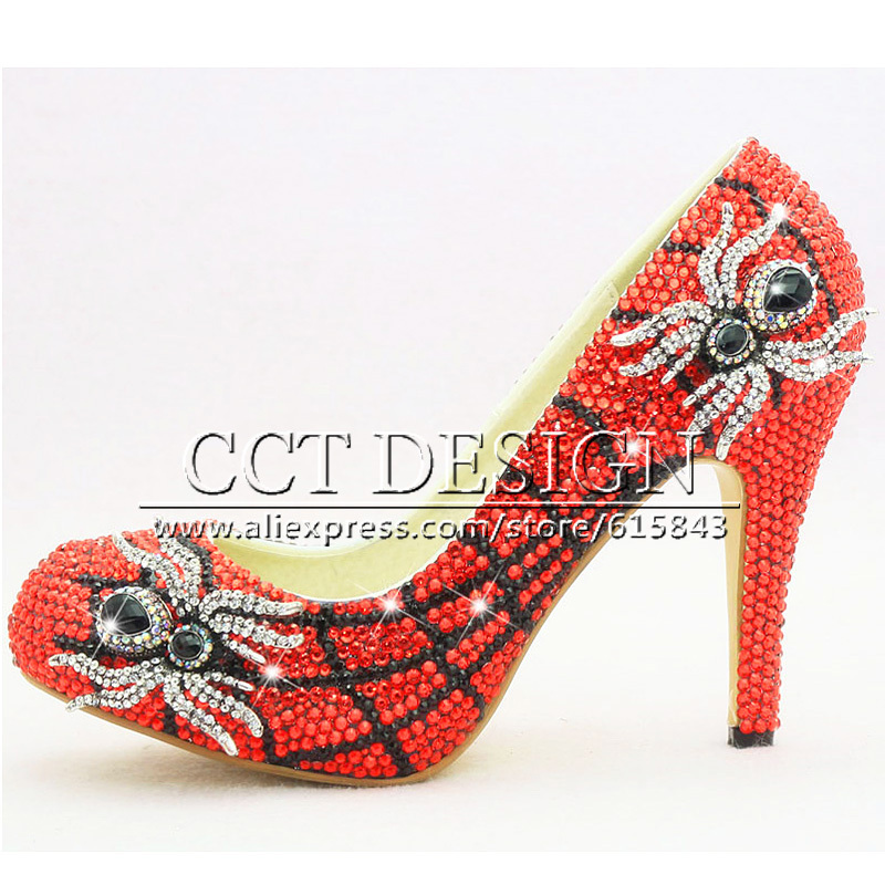 2015 Unique Design High Heel Red Crystal Spider Funky Wedding Bridal for Evening Party Whoes Woman(China (Mainland))