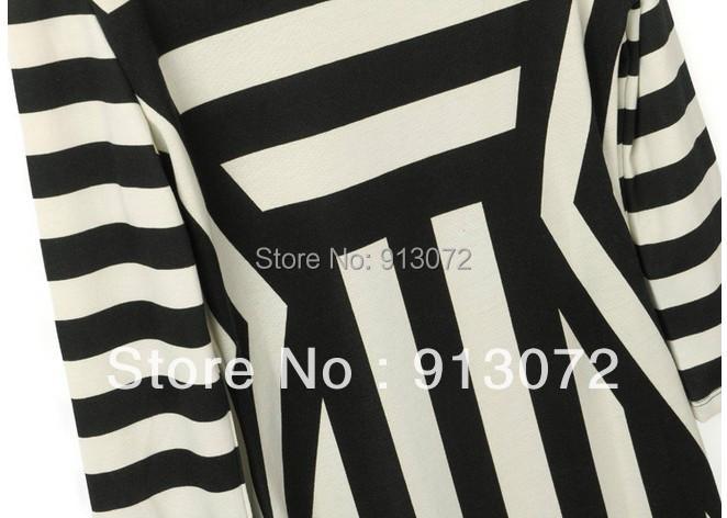 QZ179 New Ladies' Elegant Striped print Dresses O neck half Sleeve Vintage casual slim fit brand designer dress hot sale