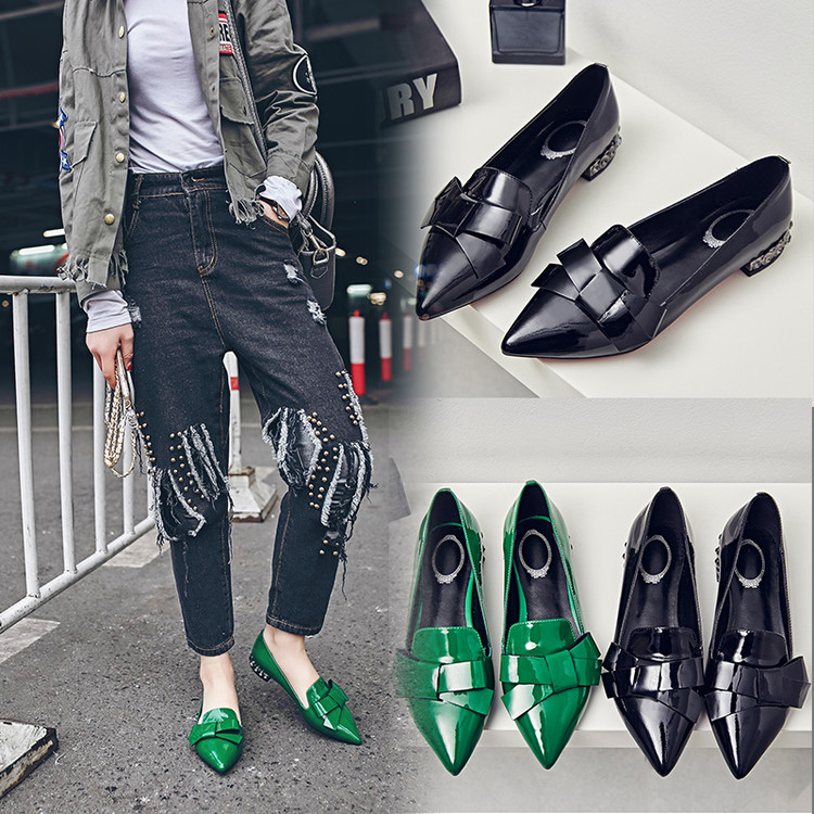 Фотография 2016 leather shoes new woman pointed shallow mouth diamond thick with casual fashion shoes a free shipping