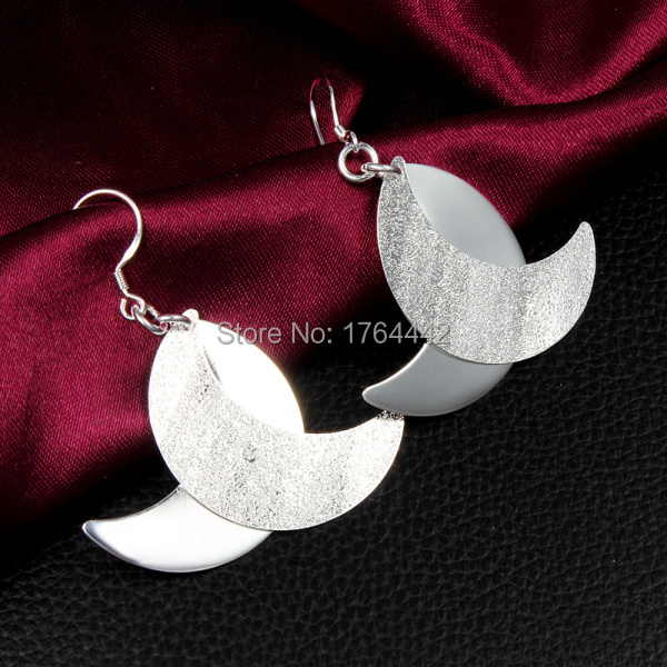 2015 fashion creative moon 925 sterling silver dangle tassel drop earrings for women Hypoallergenic India fine jewelry ED074S(China (Mainland))