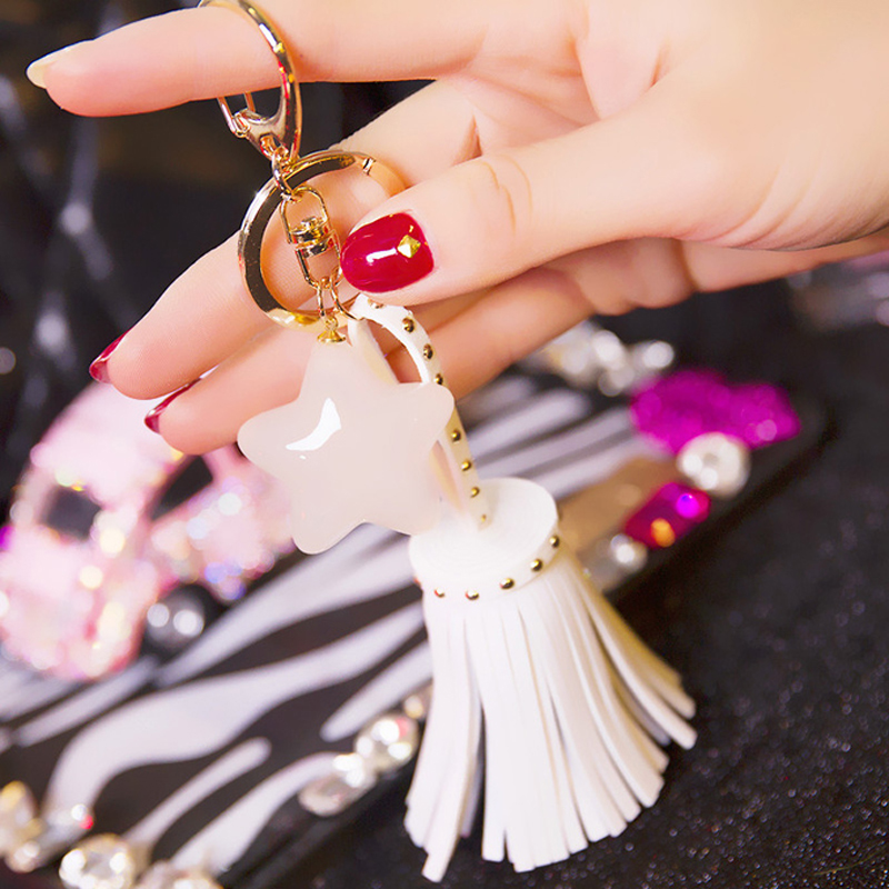 Fashion Accessories Five star Tassel Key Chain for Phone , Leather Keychain for women Chaveiro Car Key Ring Holder Jewelry(China (Mainland))