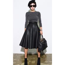 FREE SHIPPING Advanced sexyqueen vintage high waist leather medium-long half-length skirt a-line