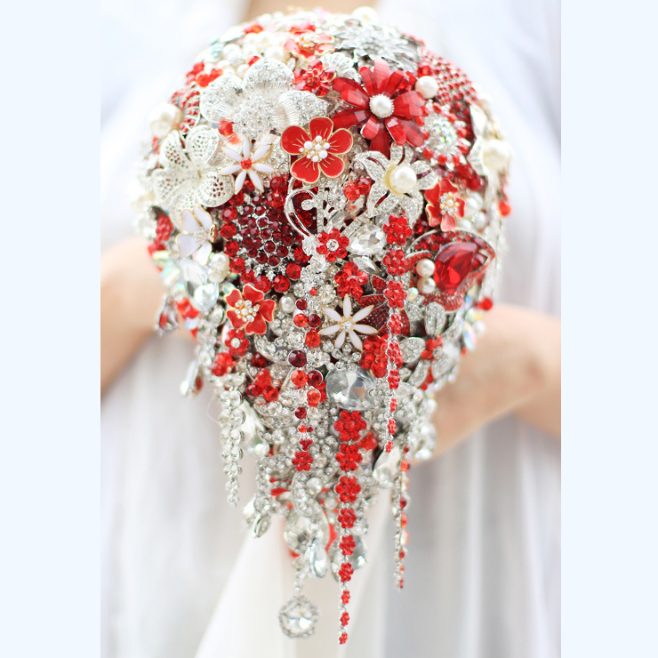 Bride Drop Brooch Bouquet Custom Made Wedding Red Amp White Jewelry Bride S Bridal Bouquets