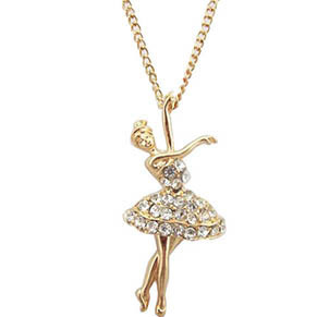 2016 Ballet Pendant Necklace Maxi Jewelry Quality 18k Plated Full Rhinestone Little Dancing Girl's Gift - Thousand Sunshine store
