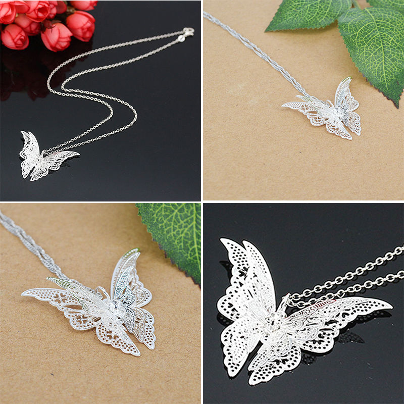 1Pc Womens Silver Crystal 3D Butterfly Pendants Luxury Crystal Charm Lady DIY Necklace Bracelet Pendant Fashion Jewelry Gift