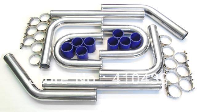 Intercooler Aluminum Piping Kits 2.0  600mm length Aluminum Pipings+ Blue Silicone Hoses + T-Bolt Clamps Turbocharge Fitment<br><br>Aliexpress