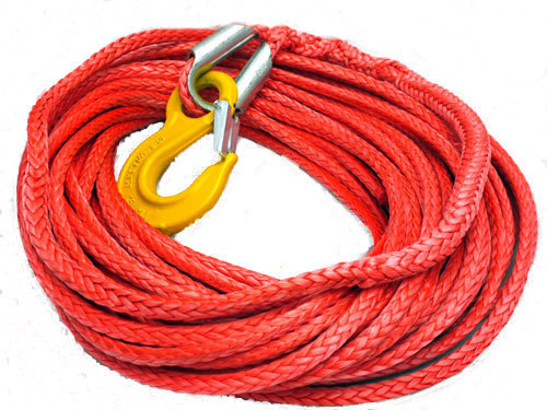 10mm x 15m 12 strand winch rope/line with hook red color(China (Mainland))