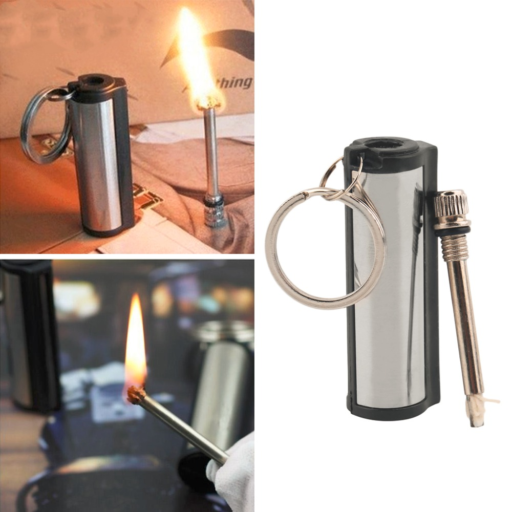 2 pc 2016 New Stainless Steel Permanent Survival Camping Emergency Fire Starter Flint Match Lighter With KeyChain Free Shipping(China (Mainland))