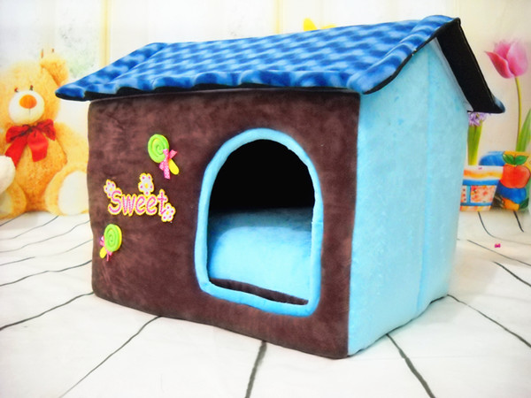 1pc/lot Soft Warm Dog Bed House Kennel Fleece Fabric Pet Cat Rabbit Puppy Plush Cozy Nest Mat Pad Cushion
