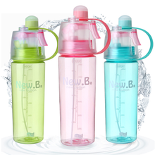600ml Creative Button Water Bottle Mist Spray Bottle Cup Portable Atomizing Mug Cups Professional Sports Bottle Climbing Cycling(China (Mainland))