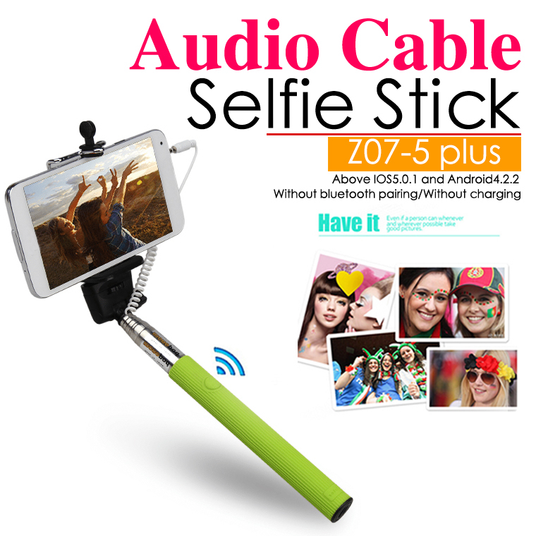 10pcs lot z07 5s handheld monopod audio cable wired selfie stick extendable camera tripod. Black Bedroom Furniture Sets. Home Design Ideas