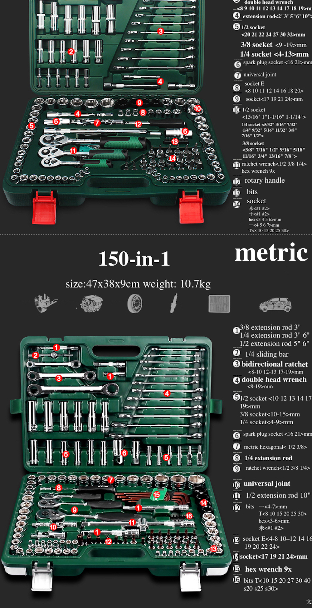 150-in-1 Combination Repairing Kit Handtool Set for Auto Motorcycles Generator Engine Tyre Metric Professional Hand Tool