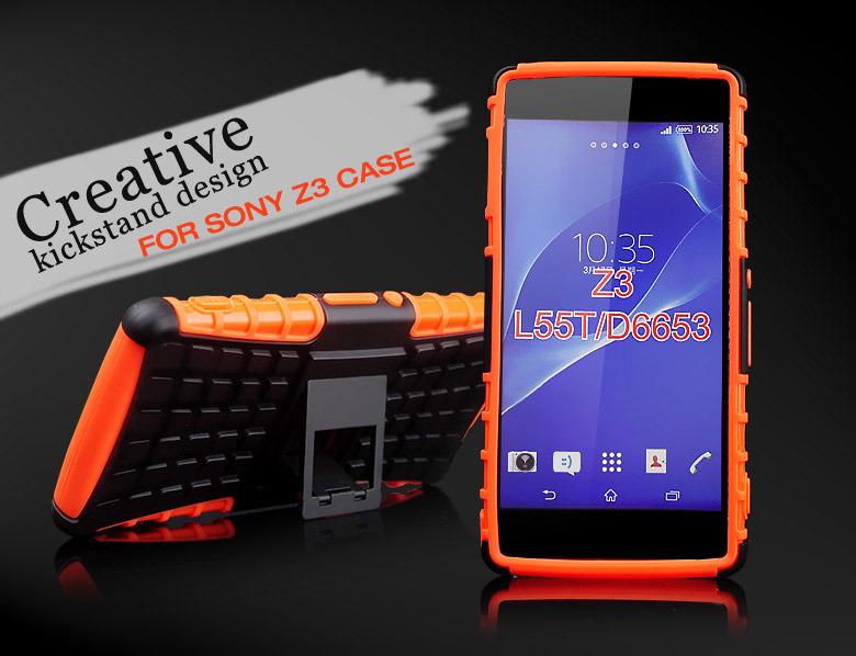 30pcs DHL FREE For Sony Xperia Z3 Compact Case Stand Hard Phone Cover Case For Sony Xperia Z3 Compact Z3 Mini Heavy Duty Case
