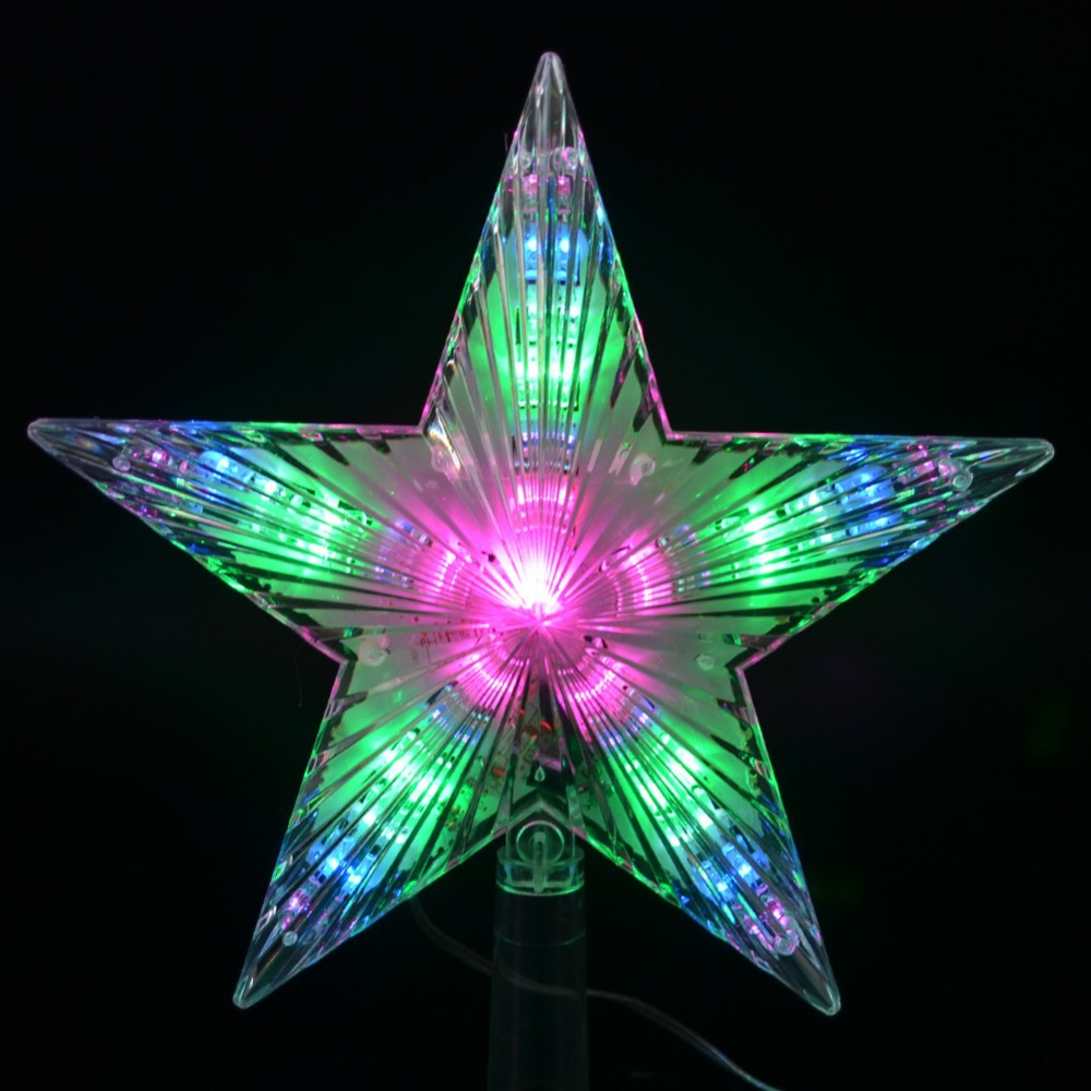 7 Modes Flash Light Led Topper Star Lights Decoration Lamp Pentagram Star Christmas Tree Topper AA Battery Indoor Outdoor Use(China (Mainland))