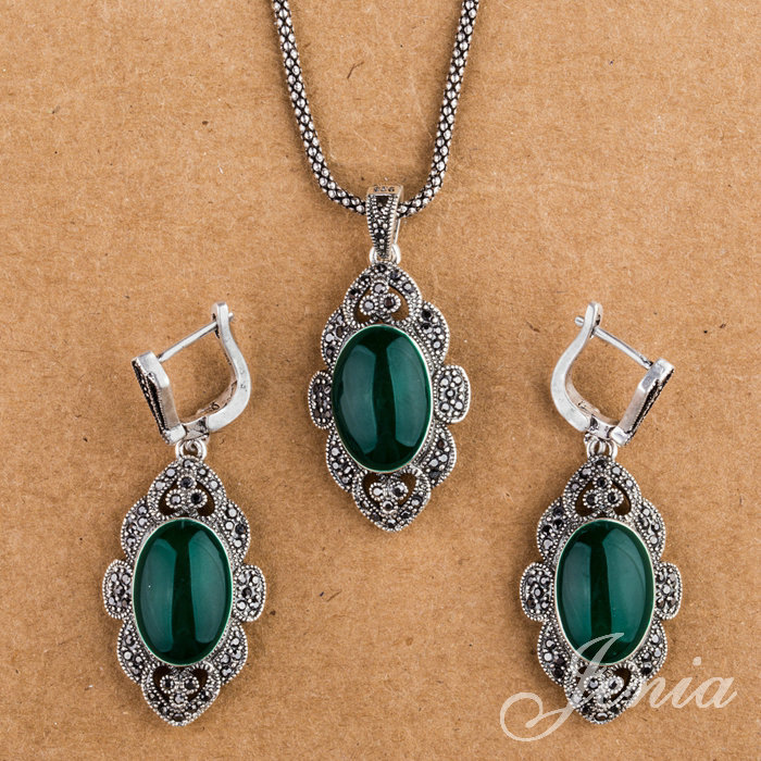 JENIA Antique Green Opal Drop Earrings and Pendant Necklace Set Silver Plated Retro Marcasite Jewelry Sets XS154<br><br>Aliexpress