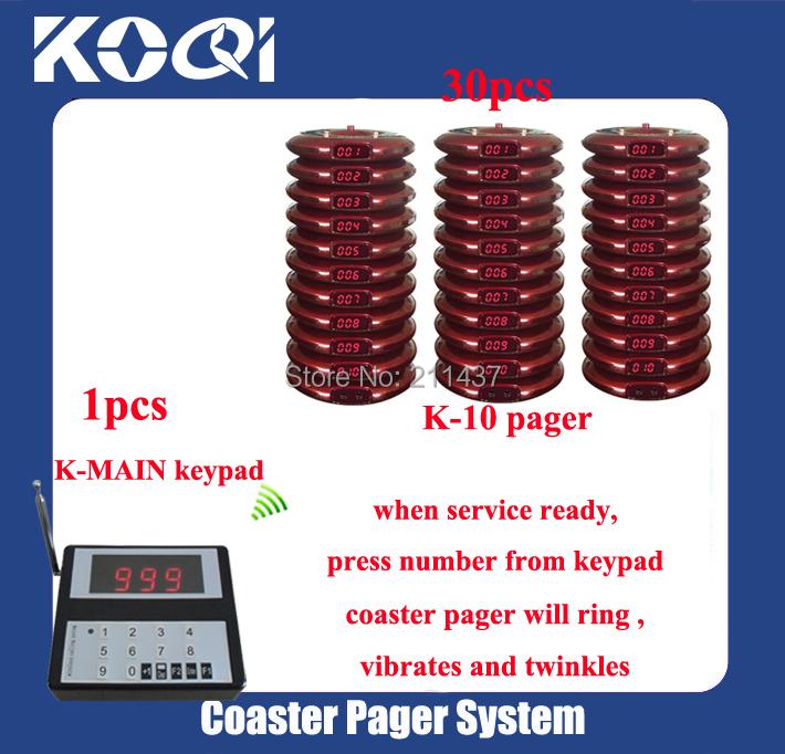 "KOQI Brand K-MAIN K-10 433.92mhz ""30 Kit"" Server Waiter Restaurant Kitchen Paging Pager System(China (Mainland))"