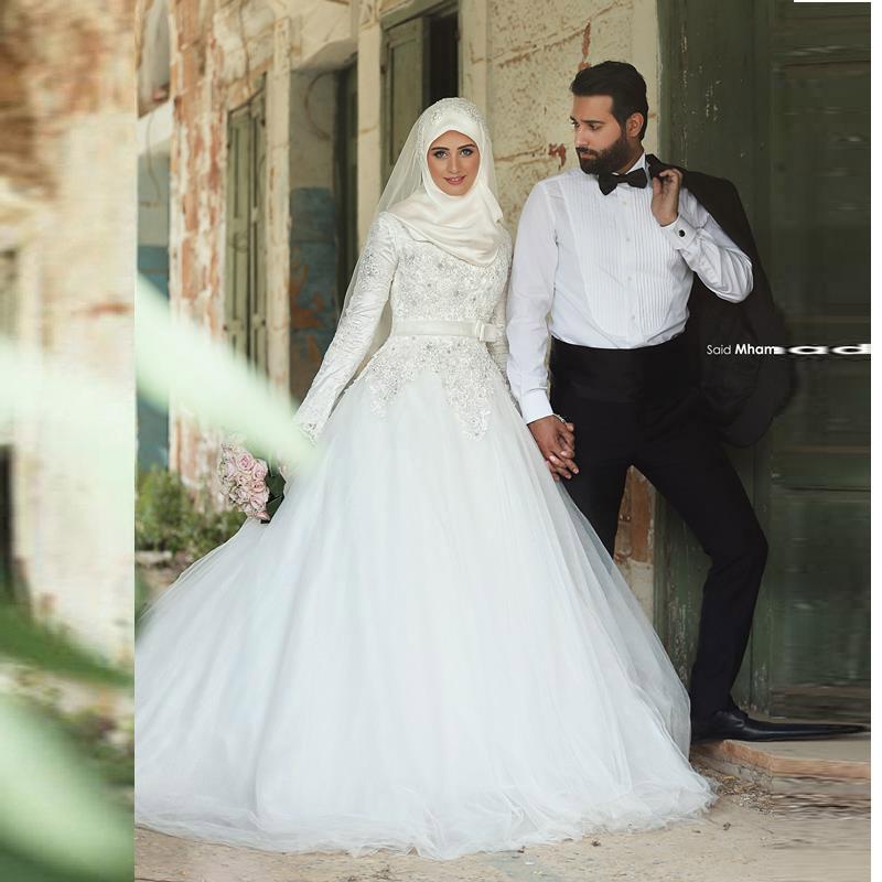 : Acheter Robes de mariée 2016 musulmans Hijab robes de mariée avec ...