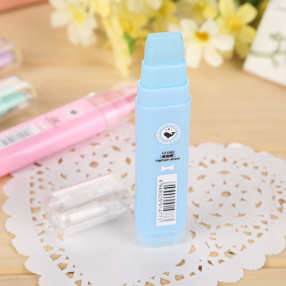 1Pcs Cute Designer Students Pen Shape Eraser Rubber Stationery Kid Gift Toy School Supplies 4 Colors Free Shipping  0716