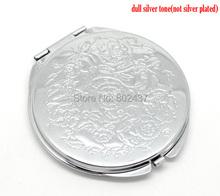"Tono de plata Tallada Maquillaje Espejo Compacto 6.6x6.2 cm (2-5/8 ""x2-1/2""), que se vende por paquete de 1(China (Mainland))"