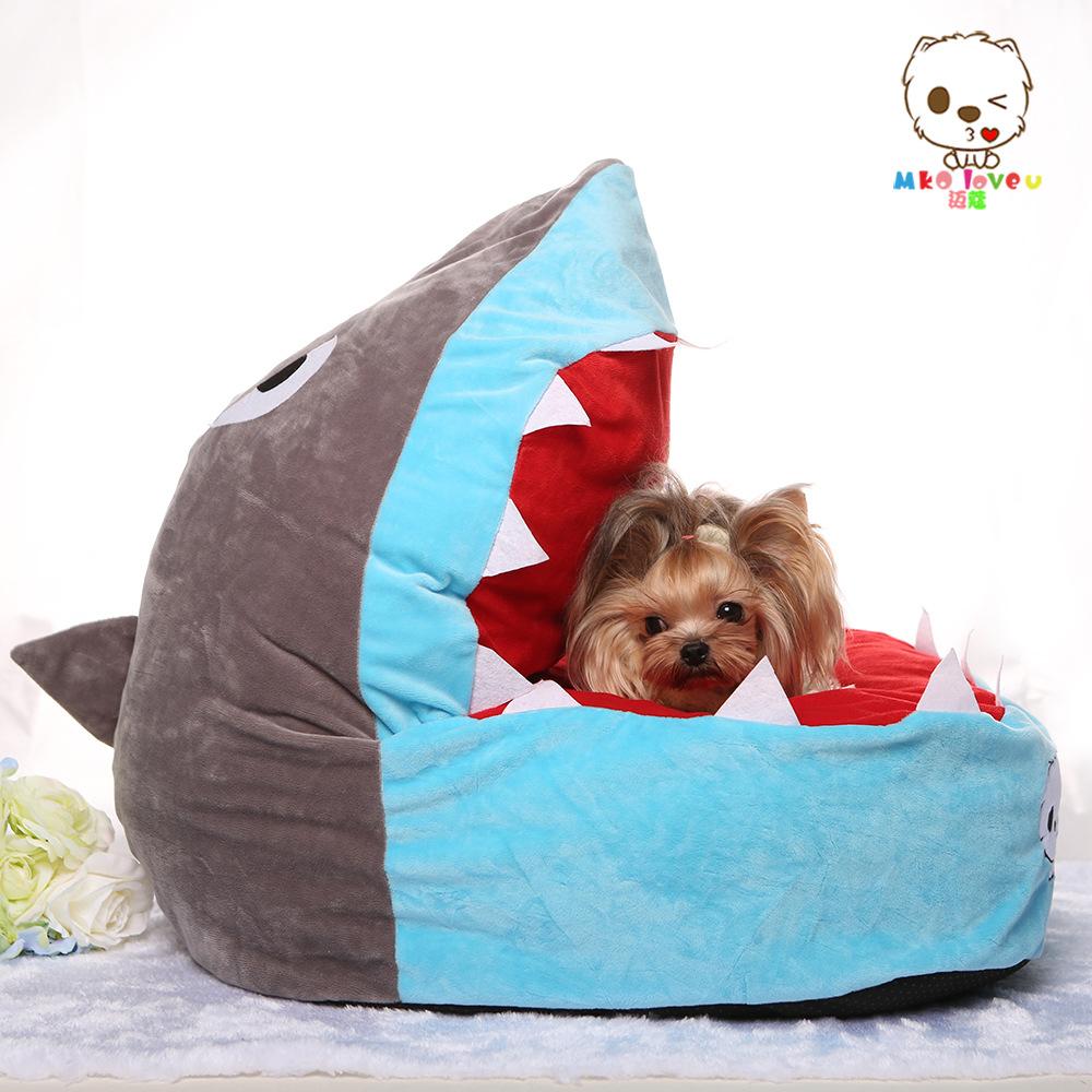 Cute funny cartoon shark cat dog House sofa bed Kennel winter Soft Fleece warm Luxury small Dog Cat puppy bed sleeping bag nest